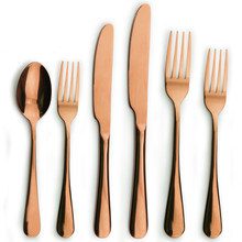 Luxury Five Star Hotel stainless steel elegant metal rose gold cutlery,Copper Brass Flatware