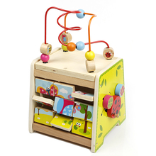 wholesale multifunctional intelligent toys for kids colorful wooden bead maze game 3D wooden jigsaw puzzle shape sorter toy