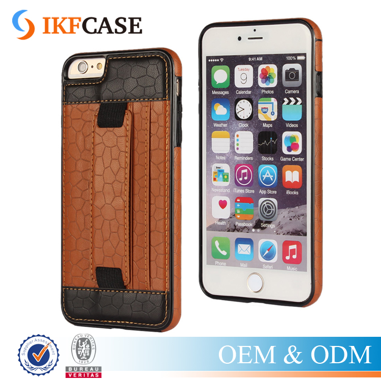 Hot Selling Mobile Phone Cover Hand buckle Strap Credit Card Slot Leather Case for Iphone 6 6S