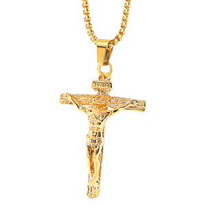 09a6fffe638fd wholesale vintage stainless steel chain men gold plated cross jesus necklace  religion personalize pendant jewelry necklaces