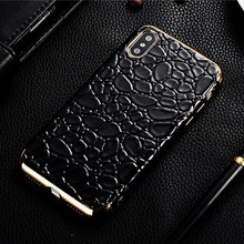For iPhone 6 case, wholesale for iPhone 6s metal frame leather case, fashion crocodile pattern for iphone7 7 plus