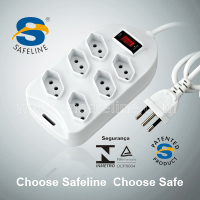 3 PIN 10A 250V Brazil socket with key circuit breaker reset/off extension of 6 outlets power strip
