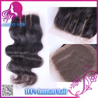 New 3 way parting cheap human hair lace closure body wave Indian hair lace closure 100% virgin hair with bleached knots in stock