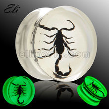 Luminous bug fit acrylic tunnel piercing body jewelry