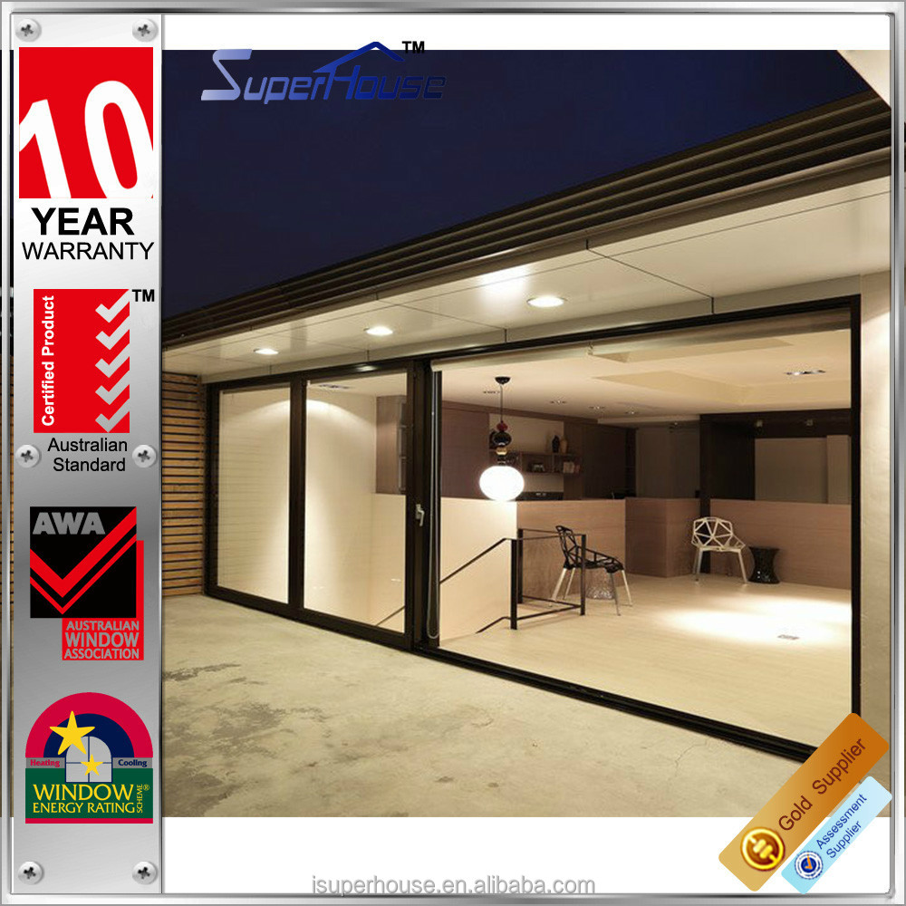 Modern home entrance safety glass balcony sliding aluminum doors