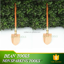 Sparkproof Copper Alloy Aluminum Round Point Folded Universal Shovel With Wooden Handle 150*330mm