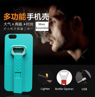 2016 New Cigarette Lighter And Bottle Opener Phone Case With USB For Iphone5 5s 6 6s promotion gift CO-PC-3023