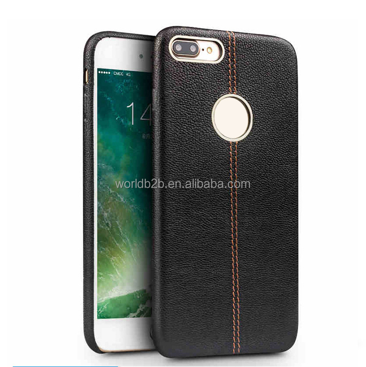 Leather Soft Back Case Slim Fit Protective Cover Snap on Case for iPhone 7, with metal camera hole