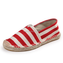 Comfortable Striped Handmade Jute Sole Espadrilles Shoes Womens Casual Shoes