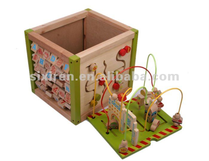 wooden activity cube toy/kids activity cube