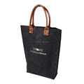 High quality reusable leather handle medium polyester felt tote bag
