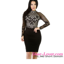 Sexy Long Sleeves Mesh Romances Wholesale Dress Indonesia