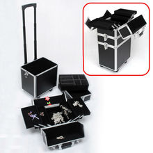 Aluminium 3-in-1 Cosmetics/Makeup/Beauty/Hairdressing/Vanity Trolley/Box/Case
