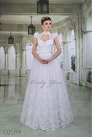 Fascinating A-line Sweetheeart Wedding dress Removable Bolero Cap Sleeves French Lace Floor-Length Embroidered Decoration