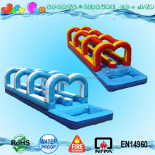 color customized detached inflatable double lane water slip n slide with pool for sale