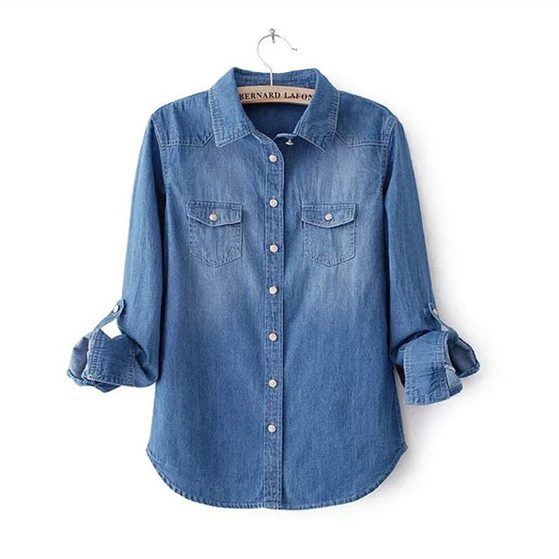 2015 New Women Blouse Spring Autumn Casual Shirts Long Sleeve Denim Cotton Jeans Shirt Casual Women Shirt Plus Size XS-3XL