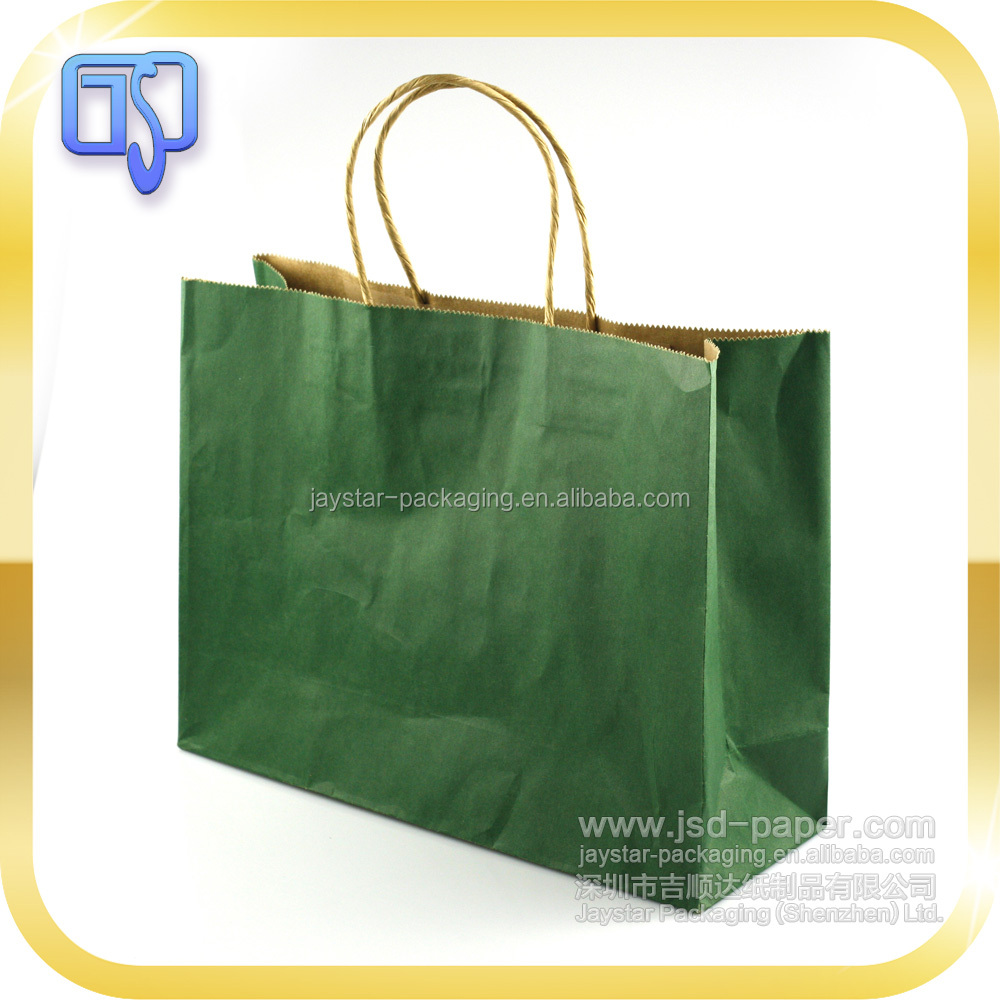 Recycled logo custom craft packaging shopping kraft paper bag with handle