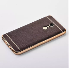 Ultra Thin Luxury PU Grain Back Cover For xiaomi hongmi redmi note 2 3 4 pro max Gold Plating TPU Soft Phone leather case