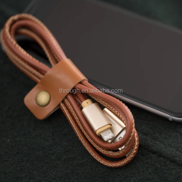 2017 3ft/1m PU leather 8 Pin Micro USB fiber optical cable Charging Cable for smart phone