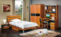 cherry melamined mdf bed and computer desk and wardrobe and bedside cabient girls bedroom sets