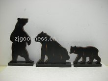 HOT SALE S/3 Home Decoration Standing Wooden Bear Black