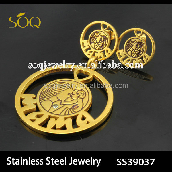 Vintage Gold Plated Stainless Steel Mom & Son Charms Pendant ...