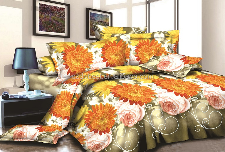 2016 chinese style design printed 3d bed sheet cover , big flower design bed sheet