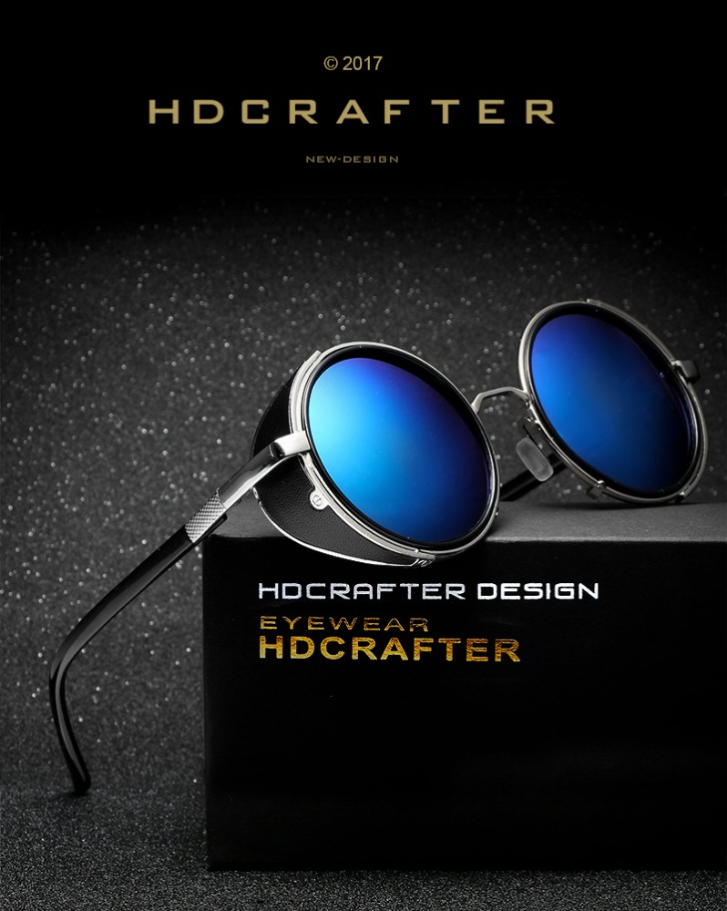 HDCRAFTER 2017 Fashion Women Round Men Side Visor Circle Lens Unisex Vintage Sunglasses