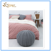 Custom Modern Household Indoor Round Knitted Cotton Ottoman Pouf