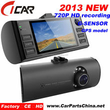 starting of the engine or ignition car camcorder 1080p car DVR Dual camera recorder with GPS Car camera