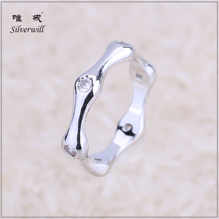 Popular simple design CZ bezel setting sterling silver bamboo ring