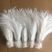 high quality natural snow white rooster tail feather for sale