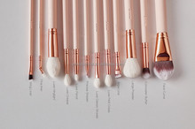 12pcs matt pink cute makeup brush set travel kit private lable