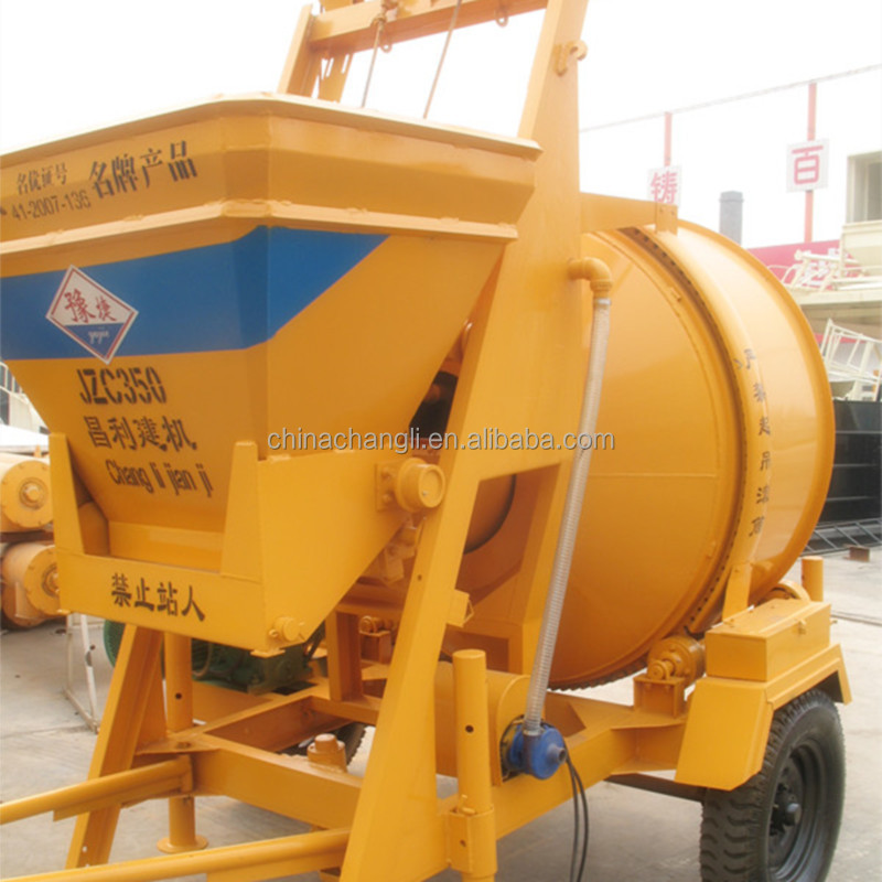 Movable wheel JZC350 concrete mixer 350L reversal discharging drum concrete mixer for sale