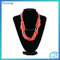 new design coral color acrylic resin beads chunky chain link necklace