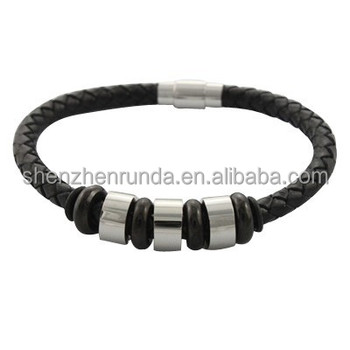Wholesale New Design Fashion Black Leather Rope Bracelet Jewelry Stainless Steel Clasp Charms from China Manufacturer
