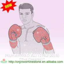 Boxing King Custom Strass Stone Hotfix Crystal Motif Iron On Rhinestone Transfer Pattern