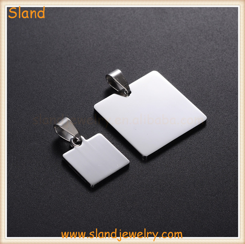 Stainless Steel Stamping square charm pendant blanks made in china
