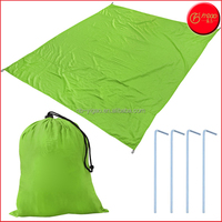 7X9 Feet Lightweight Beach Blanket with Nylon Tote Pouch & 4 Stakes Beach Mat Camping Mat Shade Tarp picnic Throw