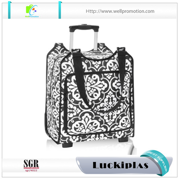 Small travel vintage luggage trolley bag, travel bags with trolley 18""