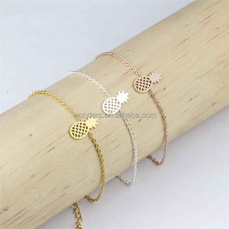 Stainless Steel Pineapple Charm Chain Braclet Jewelry Gold Plated Girls Women Summer Vacation <strong>Accessories</strong>