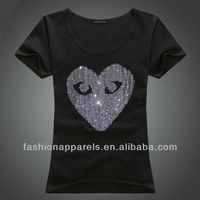 100% Cotton Fashion Custom Shirt with Rhinestone For Girl