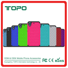 [TOPO] Shockproof silicone PC case studded diamond hybrid phone case For HTC desire 626