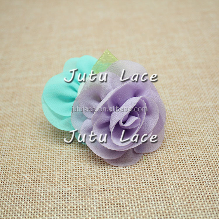 Stock 5.5cm Mini frayed rose flower with green leaf decoration