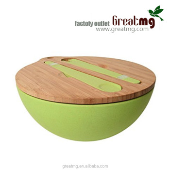 Bio bamboo bowl wholesale , bambus fiber set with wood lid for home