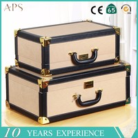 2017 retro luggage leather suitcase luggage for oversea,vintage leather luggage supplier from China