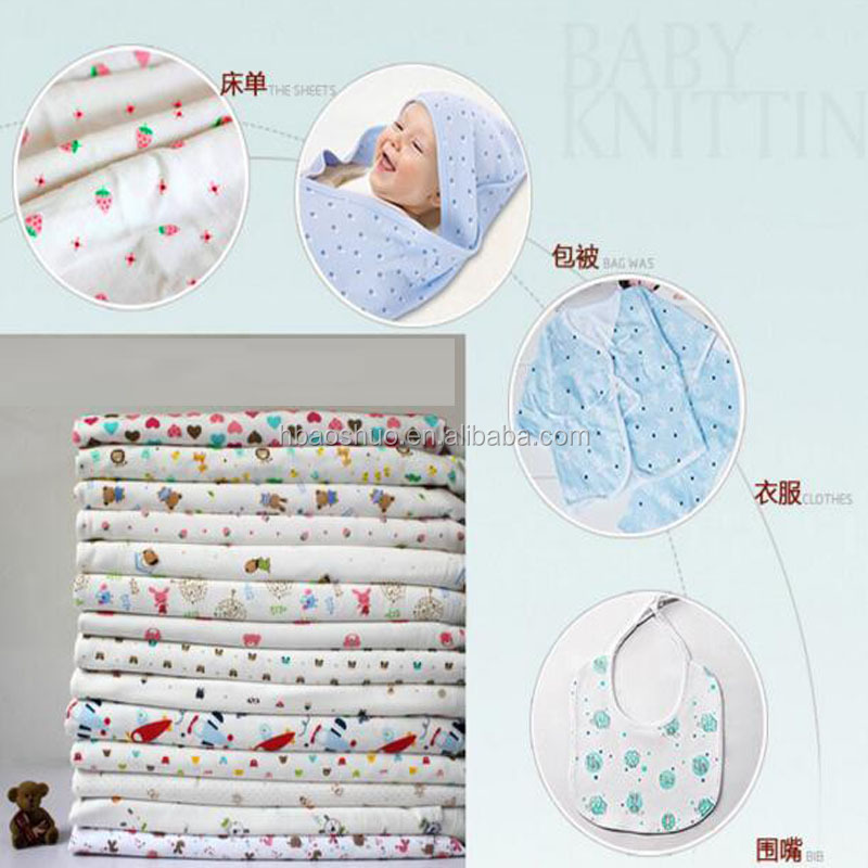 baby interlock knit printed cotton fabrics for baby clothing