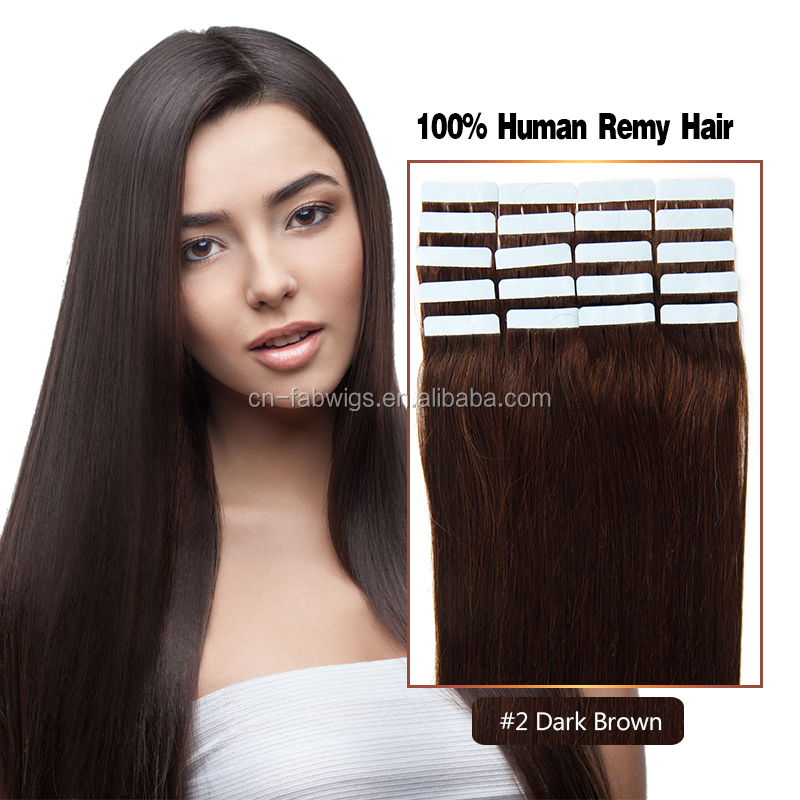 Hot sale Brazilian virgin remy tape hair extension Brazilian human hair extension #2 color tape in hair extensions