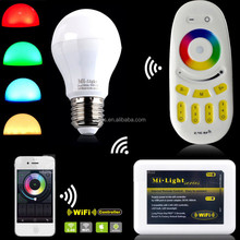 Androd IOS System Smart Rgb Led Bulb Light Remote Control Color Changing E27 6W Dimmable Rgbw/w Wifi Led Bulbs