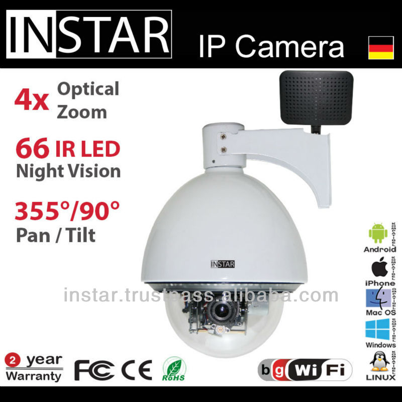 Outdoor IP Security Camera Pan & Tilt & 4x Zoom Microphone Alarm WIFI Antenna IR-LED Motion detection